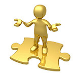 man on puzzle piece in gold